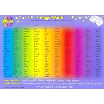 9780957830684 Upc M100w Magic Words A2 Poster 200 Words