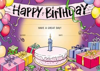 ata happy birthday certificate cake pack of 200 merit awards