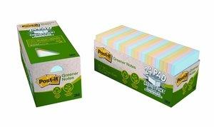 3M Post-It Recycled Notes 76 X 76mm Assorted Pastels Cabinet Pack Of 24
