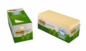 3M Post-It Recycled Notes 76 X 76mm Yellow Cabinet Pack Of 24